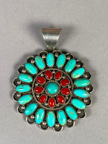 T. Yazzie Navajo Silver, Turquoise and Coral Pendant