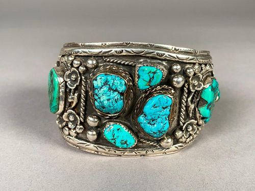 Benny Apachito Sterling and Turquoise Cuff Bracelet