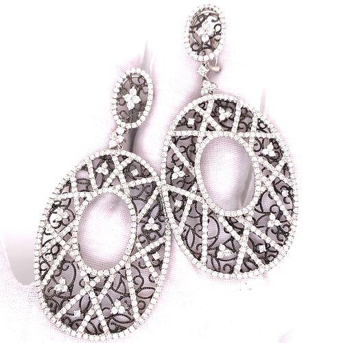 18K Black & White Gold Diamond Drop Earrings