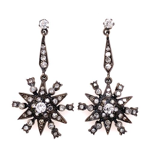 Silver & Gold Georgian Diamond Star Drop Earring