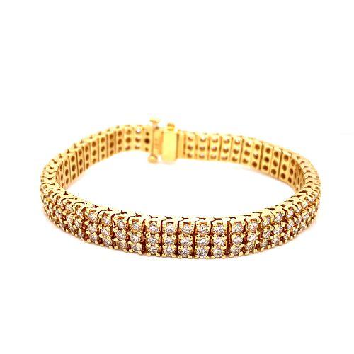 18K Diamond Triple Tennis Bracelet