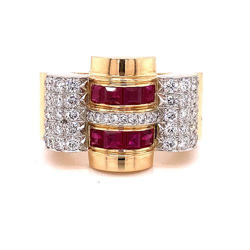 1940' 18K Retro Chevalier Diamond Ring