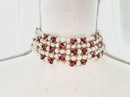 FRED Paris 18K Pink Sapphire Diamond Pearl Chocker