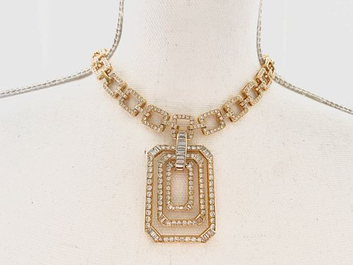 18K Diamond Square Necklace