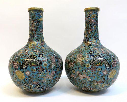 Pair 18th C. Cloisonne Vases