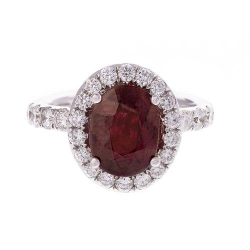 An Impressive 2.72 ct Ruby & Diamond Ring in 18K