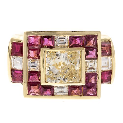 A 2.02 ct Yellow Diamond & Ruby Ring in 14K