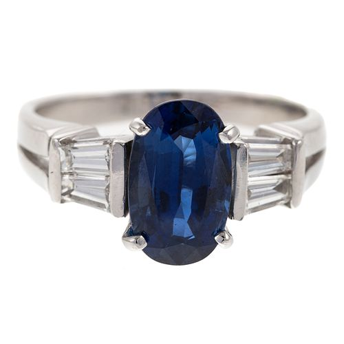 A 2.52 ct Sapphire & Diamond Ring in 18K