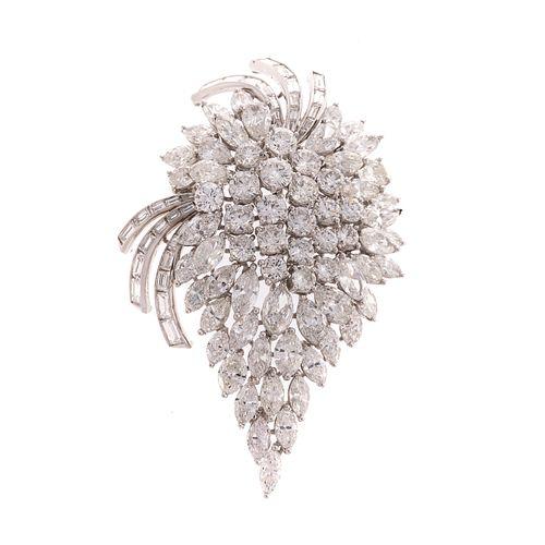 An Impressive 16.00 ct Diamond Cluster Pin/Pendant