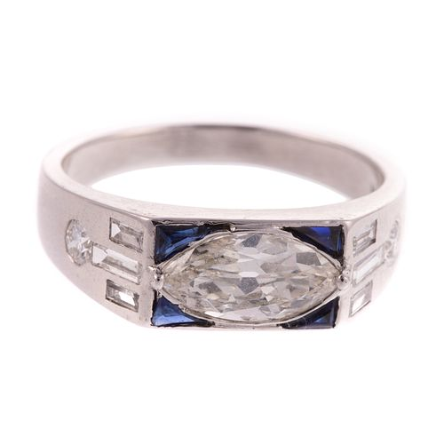 A Marquise Diamond & Sapphire Ring in Platinum