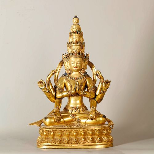 A Gem Inlaid Gild Bronze Statue of Four Arms Eleven Faces Guanyin