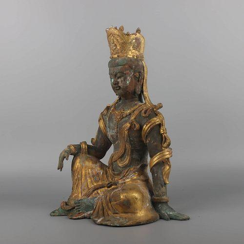 A Gild Silver Buddha Statue