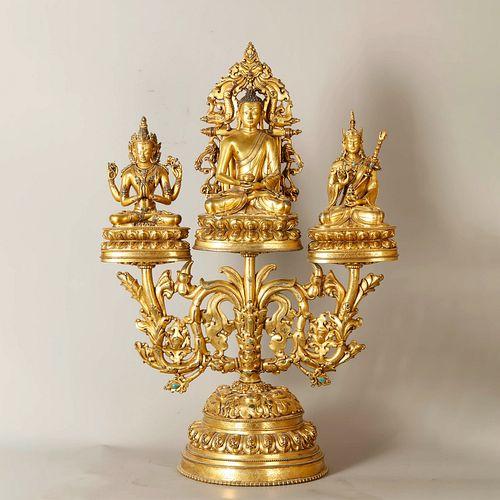 A Gem Inlaid Gild Bronze Buddha Statue