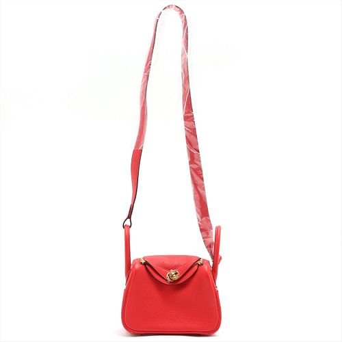 HERMES 2020     MINI LINDY TAURILLON CLEMENCE ROUGE TOMATO