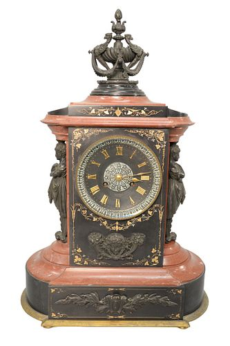 Tiffany Victorian Rouge Marble and Black Slate Shelf Clock having rouge marble, and black slate, bronze urn finial atop rouge marble, dial flanked by