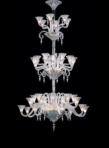 Baccarat Crystal Mille Nuits Forty-two Light Chandelier designed by Mathias, bevel cut crystal having decorative scrolls with hexagon and prisms, and