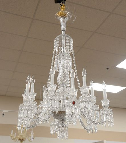 Baccarat Chandelier Grand Crystal having twelve arms and lights approximate height 47 inches, diameter 30 inches Please note: Successful bidder is res