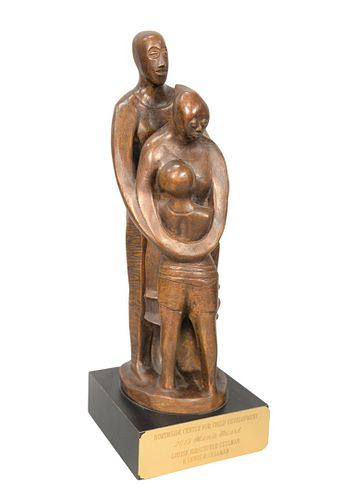 "Elizabeth Catlett (American, 1915 - 2012) ""The Family"" bronze with brown patina initialed E.C. to the base height of bronze 15 inches, total height 17"