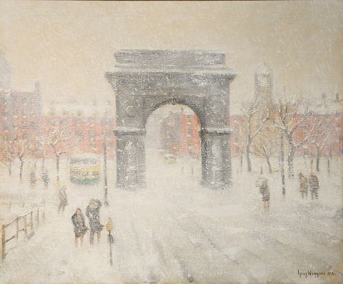"Guy Wiggins (American, 1883 - 1962) Washington Square oil on canvas signed lower right 24"" x 30"" Provenance: Matthes-Theriault Collection, Woodbridge,"