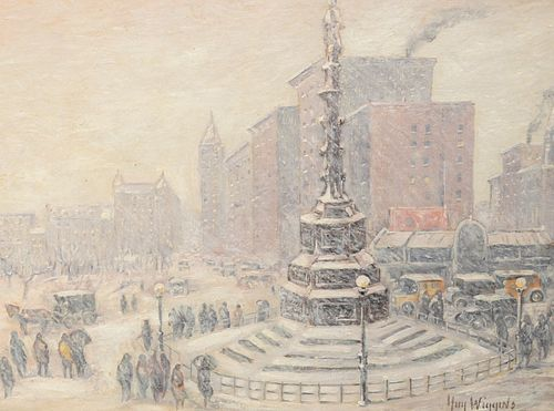 """Guy Carleton Wiggins (American, 1883 - 1962) """"New York Storm, Columbus Circle"""" oil on board signed lower right Guy Wiggins signed and titled verso Mid"""