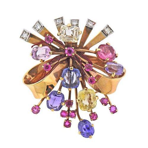 Retro 14K Gold Diamond Multi Color Gemstone Brooch Pin