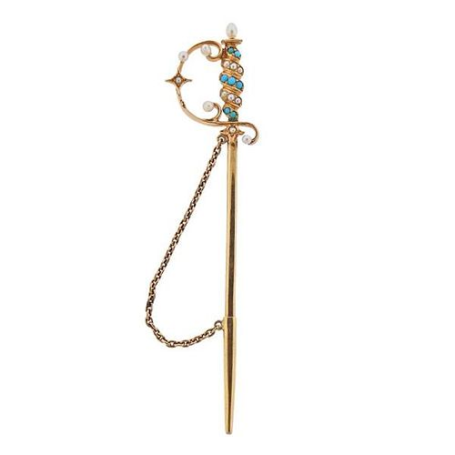 Antique 14K Gold Turquoise Pearl Sword Stick Pin