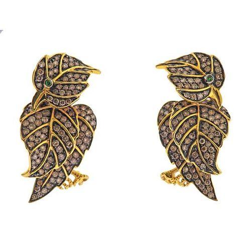 18K  Gold 3.50ctw Fancy Diamond Leaf Bird Earrings