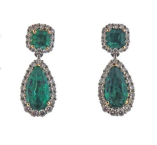 14K Gold Diamond Emerald Drop Earrings