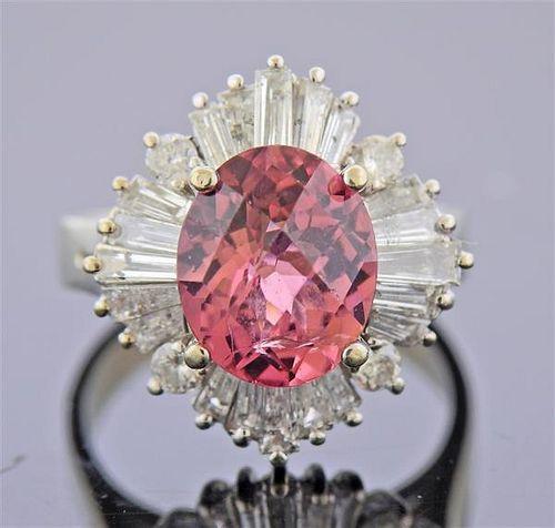 14K Gold Diamond Tourmaline Ring