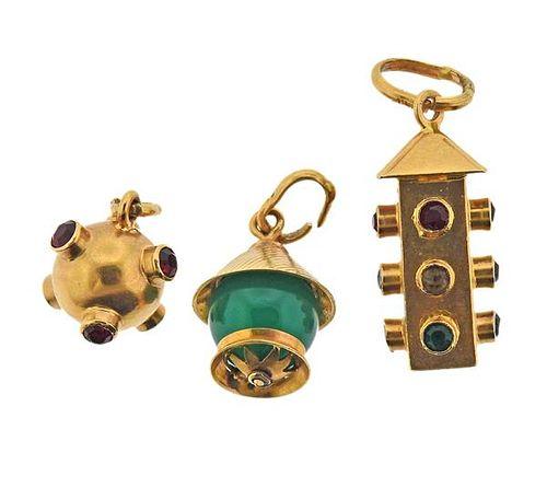 Mid Century  18K Gold Gemstone Charm Lot of 3