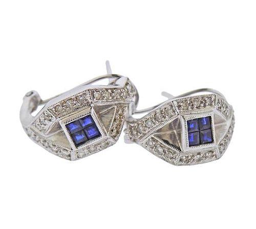 14K Gold Diamond Sapphire Half Hoop Earrings