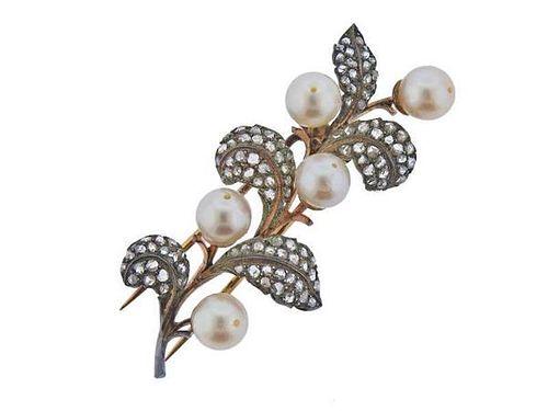 Mario Buccellati 18k Gold Silver Diamond Pearl Brooch