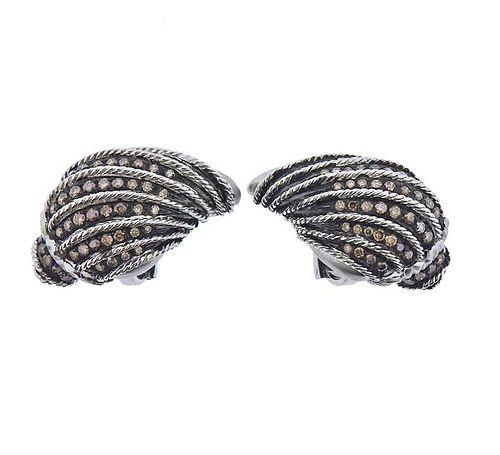 Moussaieff 2.75ctw Fancy Diamond 18k Gold Shell Earrings