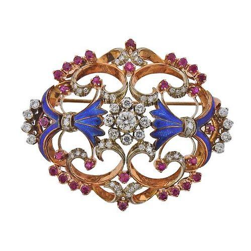 18k Rose Gold Diamond Ruby Enamel Brooch