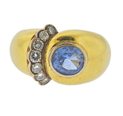 18k Gold Blue Gemstone Diamond Ring