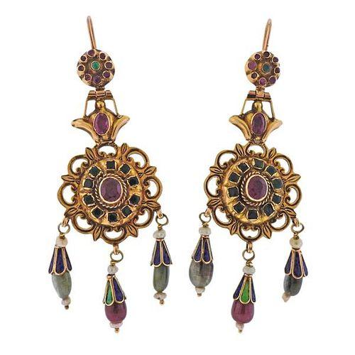Antique 14k Gold Gemstone Enamel Drop Earrings
