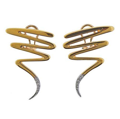 Tiffany & Co Picasso Gold Platinum Diamond Zig Zag Earrings