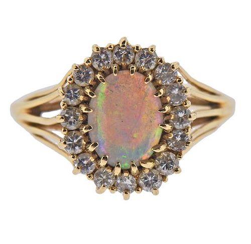 14k Gold Opal Diamond Ring