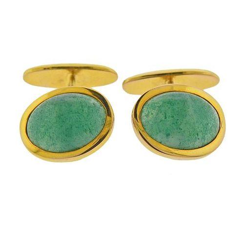 18k Gold Green Quartz Cufflinks