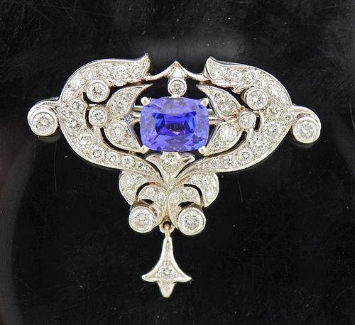 18K Gold Diamond Tanzanite Brooch Pin