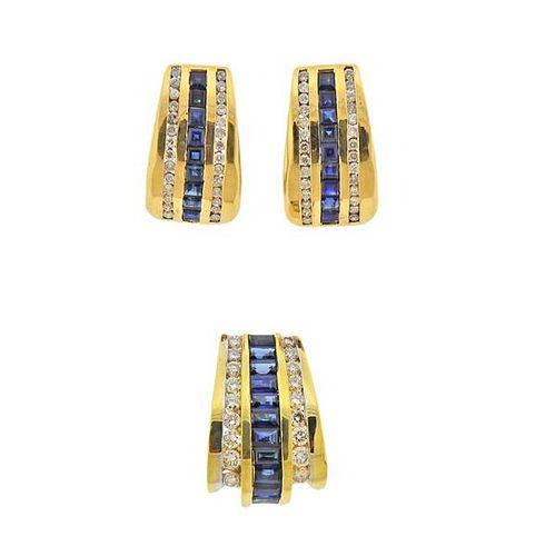 18K Gold Diamond Sapphire Pendant Earrings Set