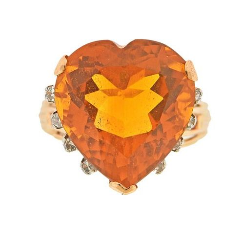 Mid Century 14K Gold Diamond Heart Citrine Ring