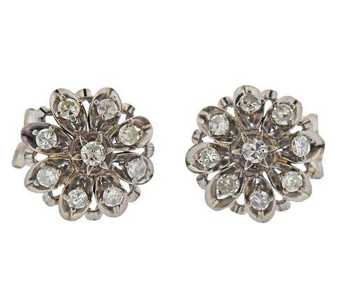 Mid Century 18K Gold Diamond Floral Earrings