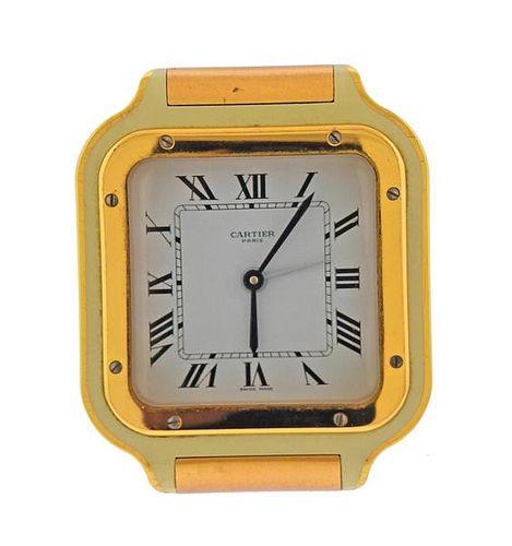 Cartier Santos Gold Tone Desk Travel Clock