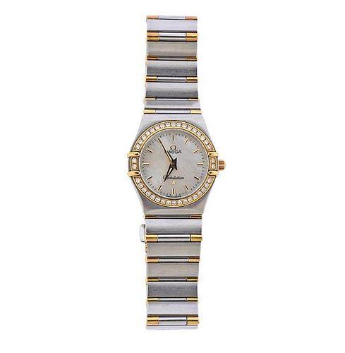 Omega Constellation 18k Gold Steel Diamond MOP Watch 13777000