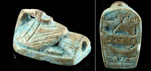 Egyptian Faience Goose Amulet w/ Hieroglyphs