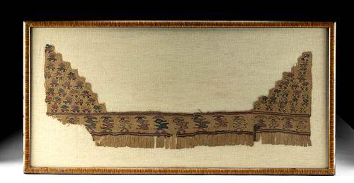Framed Chimu Textile Fragment w/ Avian Motif