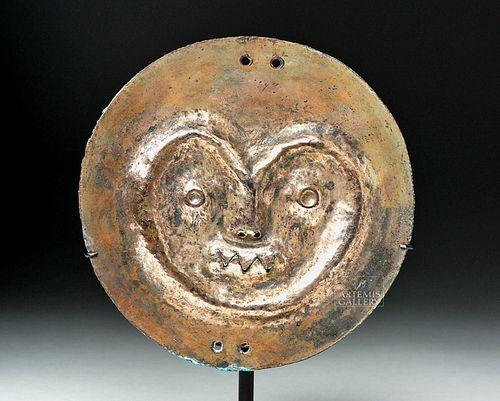 Moche Gold Rondel - Stylized Jaguar Face