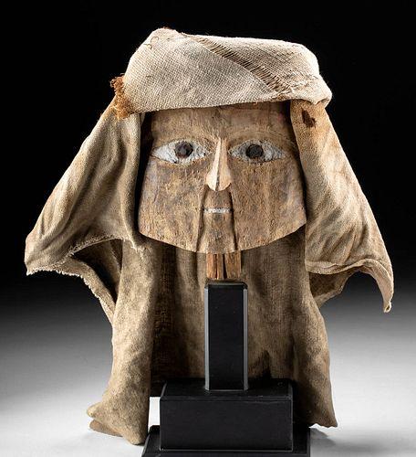 Chancay Wood Mummy Mask w/ Textile Headdress