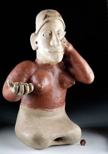Large Jalisco Ameca Pottery Seated Female Figure